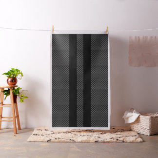 Racing Flags on Black Stripes Carbon Fiber Style Fabric
