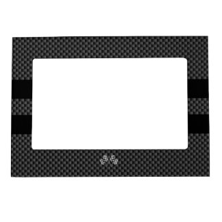 Racing Flags on Black Stripes Carbon Fiber Style Magnetic Photo Frame