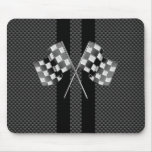 Racing Flags on Black Stripes Carbon Fiber Style Mouse Pad