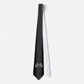 Racing Flags on Stripes Carbon Fiber Like Style Neck Tie