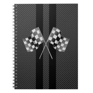 Racing Flags on Stripes Carbon Fiber Like Style Notebook