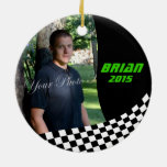 Racing Flags Photo Keepsake Double-Sided Ceramic Round Christmas Ornament