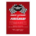 Racing Flags Retirement Party Red 5x7 Paper Invitation Card