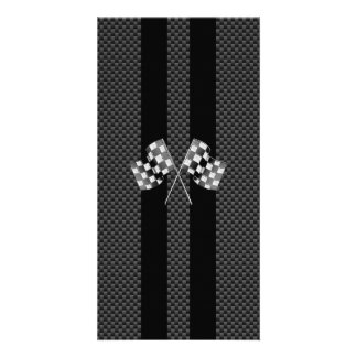 Racing Flags Stripes in Carbon Fiber Style Decor Card
