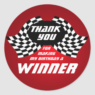 Racing Flags Thank You Red Classic Round Sticker
