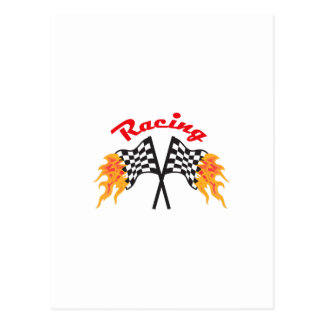 RACING FLAMING FLAGS POST CARD