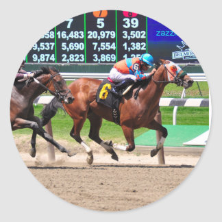 Racing from Beautiful Belmont Park Classic Round Sticker