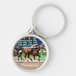 Racing from Beautiful Belmont Park Silver-Colored Round Keychain