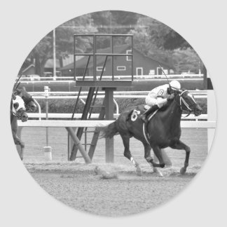 Racing from Historic Saratoga Race Course Classic Round Sticker