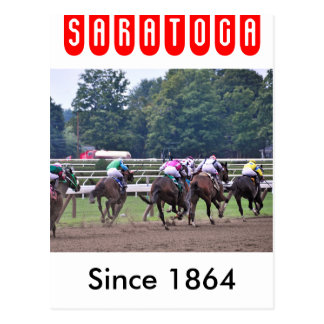 Racing from Historic Saratoga Race Course Postcard