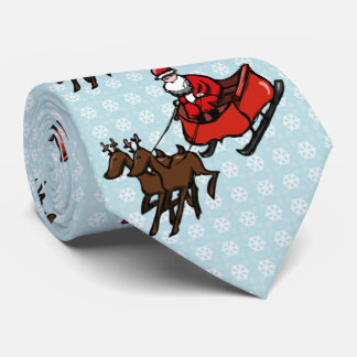 Racing Funny Santa Claus with reindeer and sleigh Neck Tie