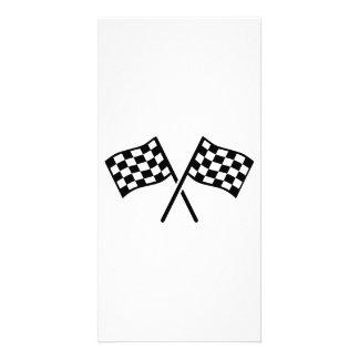 Racing goal flags photo greeting card