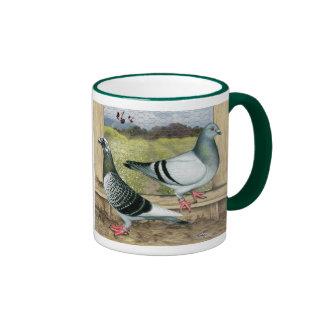 Racing Homers in Loft Ringer Coffee Mug