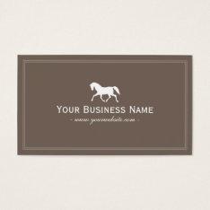 Racing Horse Elegant Plain Brown Business Card at Zazzle