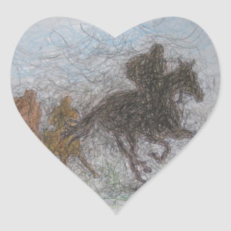 racing horse heart sticker