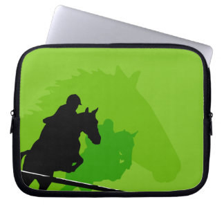Racing Horses On A Green Background Computer Sleeves