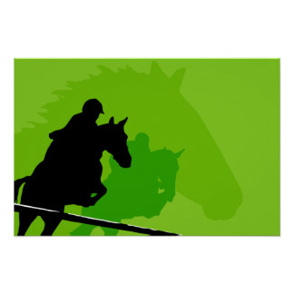 Racing Horses On A Green Background Poster