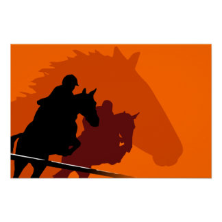 Racing Horses On A Orange Background Poster