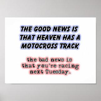 Racing In Heaven Dirt Bike Motocross Poster