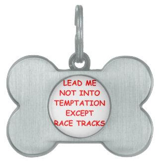 racing joke pet name tags