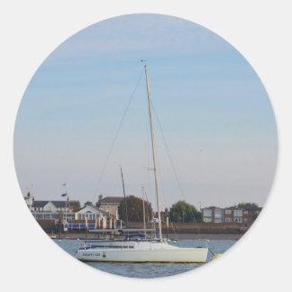 Racing Keelboat Classic Round Sticker