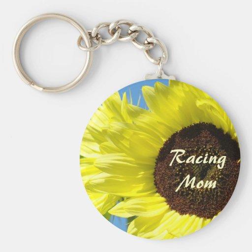 Racing Mom Keychain Sunflowers Race Races