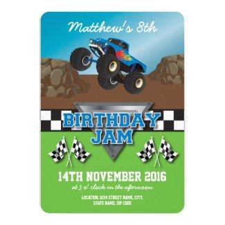 Racing Monster Jam Truck Birthday Party Invitation