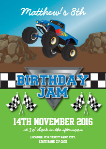 monster truck birthday invitations zazzle