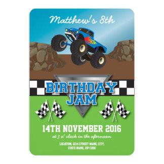 Racing Monster Jam Truck Checkered Birthday Card