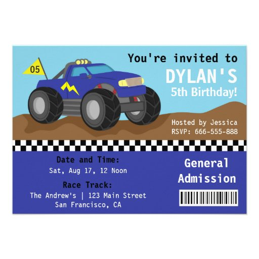 Racing Monster Truck Party, Blue Admission Ticket Personalized Invitation