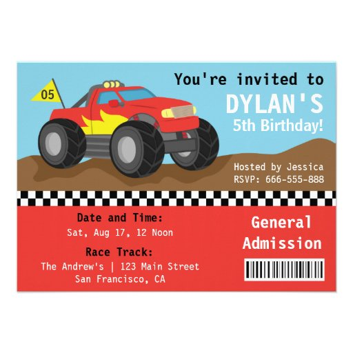 Racing Monster Truck Party, Boys Admission Ticket Custom Announcement