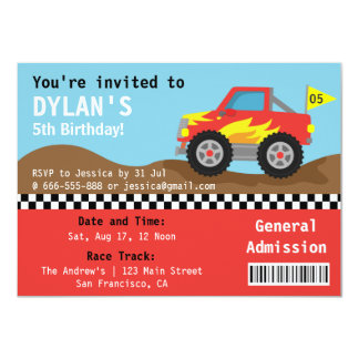 """Racing Monster Truck Party, Boys Admission Ticket 4.5"""" X 6.25"""" Invitation Card"""