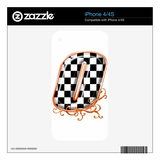 Racing number 0 orange skin for iPhone 4S