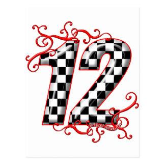racing number 12 postcard