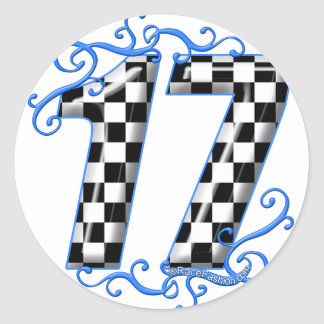 racing number 17 classic round sticker