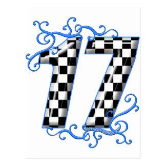 racing number 17 postcard