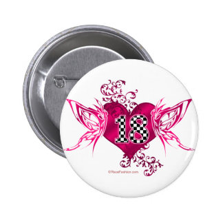 racing number 18 with butterflies pinback buttons