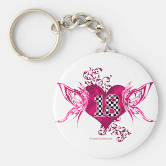 racing number 18 with butterflies keychain