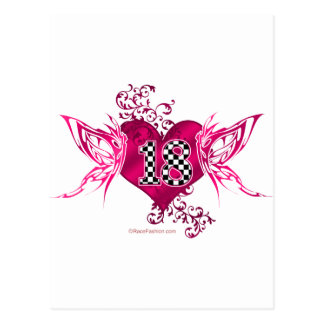 racing number 18 with butterflies postcard