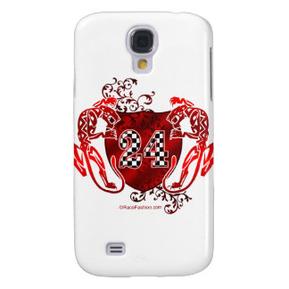 racing number 24 red with panthers/tigers galaxy s4 case