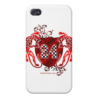 racing number 24 red with panthers/tigers iPhone 4 cover