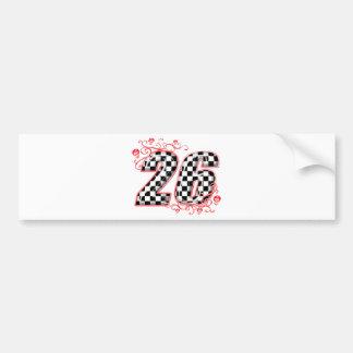 racing number 26 skulls bumper sticker