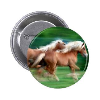 Racing Palomino Horses Button