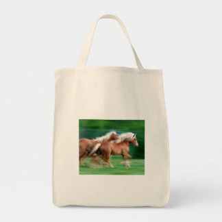 Racing Palomino Horses Grocery Tote Bags