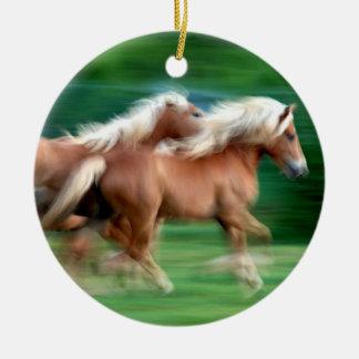 Racing Palomino Horses Ornament