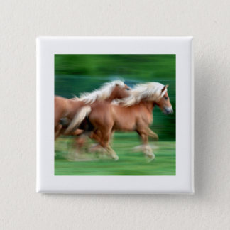 Racing Palomino Horses Square Button