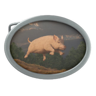 Racing Pig Oval Belt Buckle