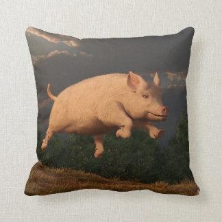Racing Pig Throw Pillows