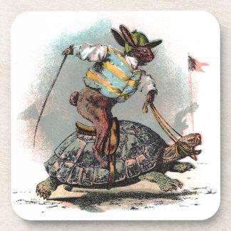 Racing Rabbit Riding Tortoise Beverage Coaster