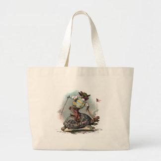 Racing Rabbit Riding Tortoise Large Tote Bag